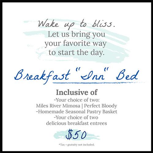 promo flyer for the Breakfast Inn Bed Package